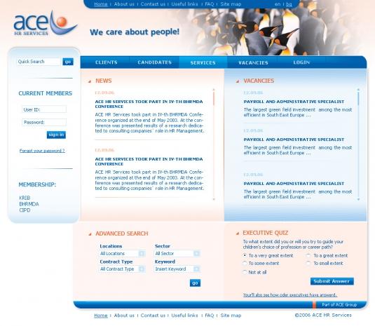 Уеб сайт ACE HR Services - начална страница