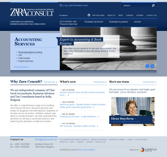 Web site of Zara Consult